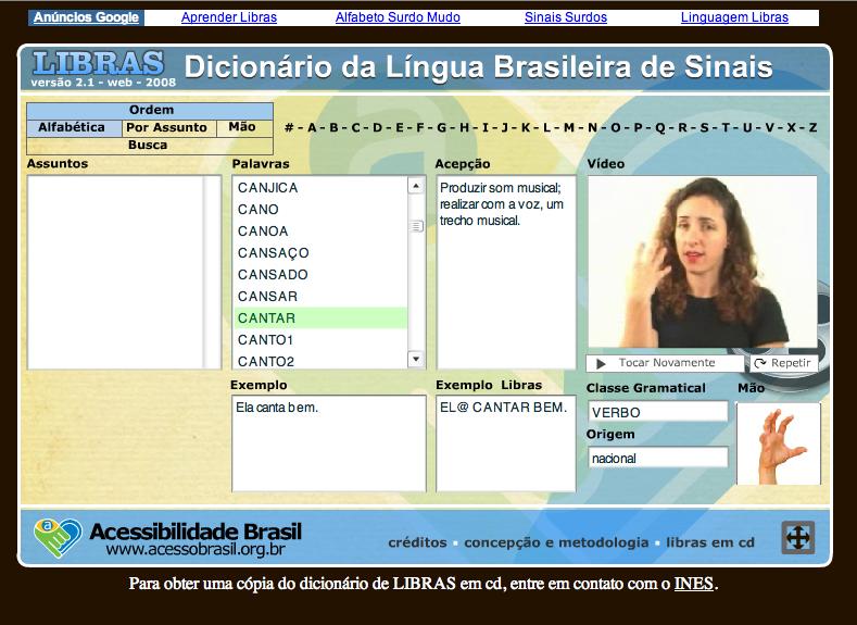 DICIONÁRIO DE LIBRAS ON LINE