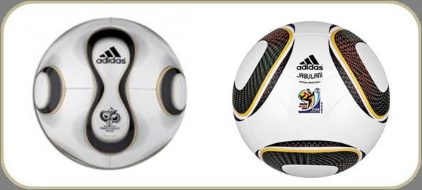 Da esquerda para a direita  bolas utilizadas nas Copas de 2006 e 2010. 677fa5857078d