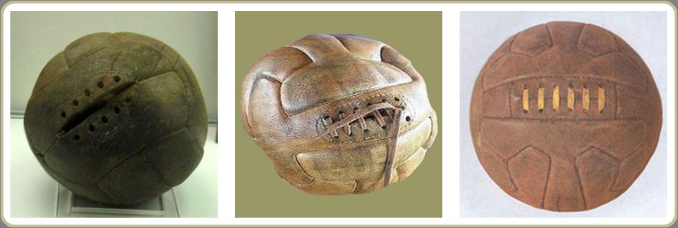 Da esquerda para a direita  bolas usadas na Copa de 1930 (primeiro e  segundo tempo 74279fb065e93